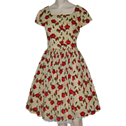 Vintage 1950s Dress Challis Rose Print Full Skirt