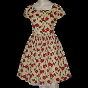Vintage 1950s Dress Challis Rose Print Full Skirt