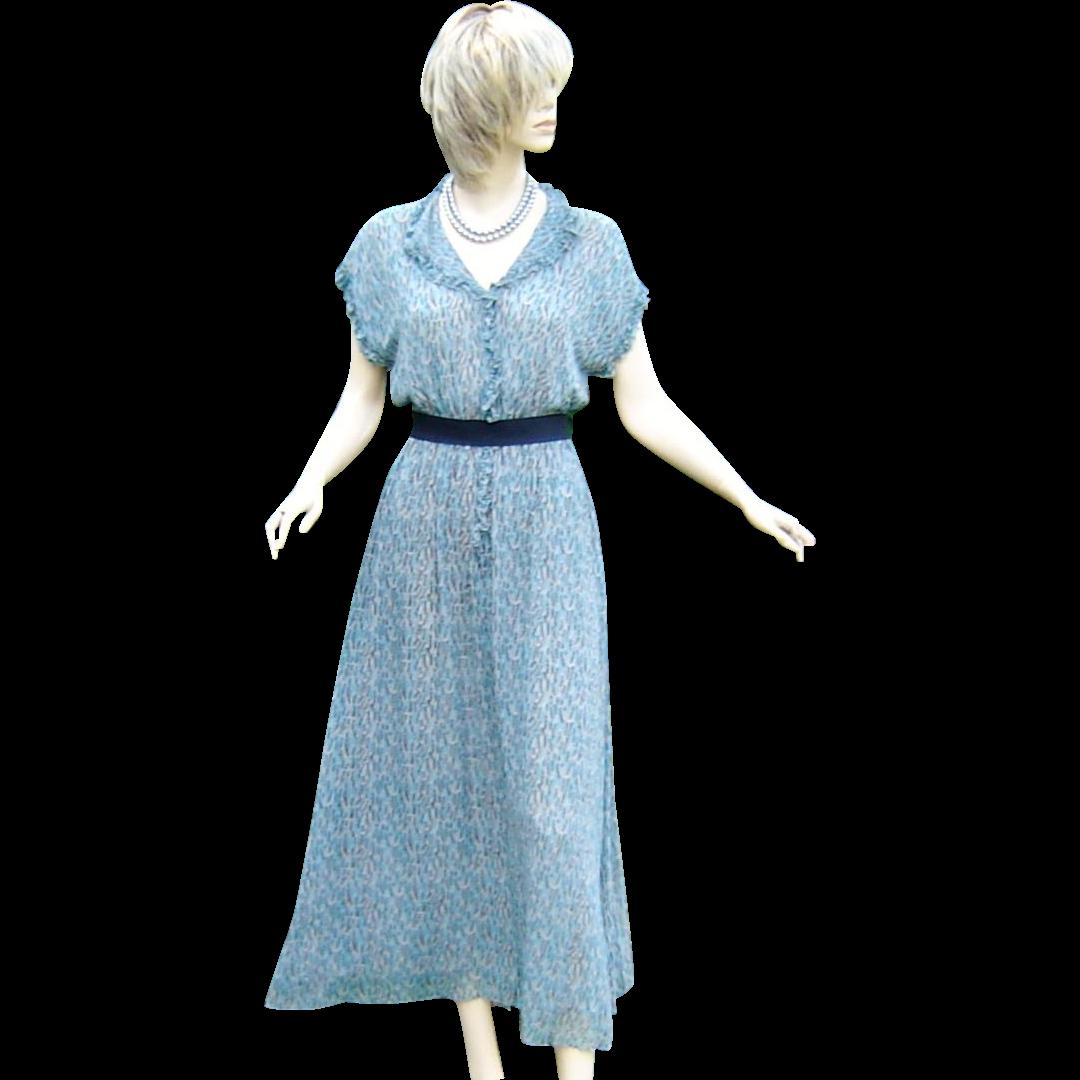 Vintage 1970s Dress Georgette Print
