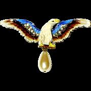 Vintage Chanel Novelty Eagle Brooch Faux Pearl Enamel Rhinestone Rare