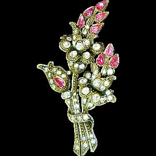 Vintage Staret Brooch Pink Flowers Rhinestone Huge