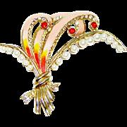 Vintage Pink Enamel Brooch Faux Pearl Rhinestones Huge