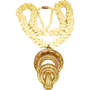 Vintage Carved Bone Pikake Necklace