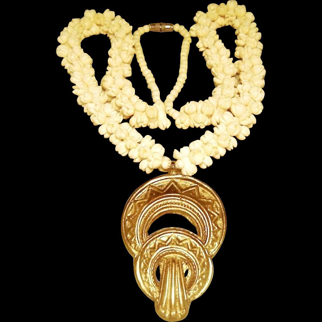 Vintage Carved Bone Pikake Necklace