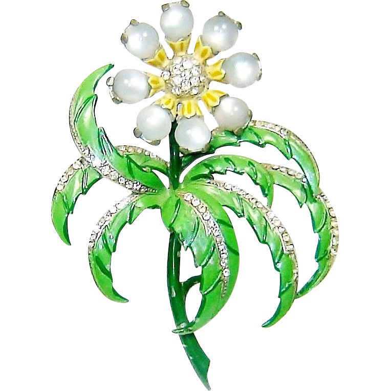 Vintage Chanel Novelty Brooch Enamel Moonstone Flower Book Piece