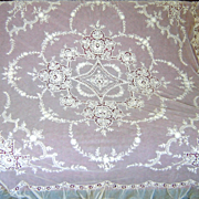 Antique French Lace Bed Cover Tambour Netting