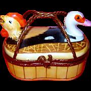 Limoges Basket Hen Rooster Duck Trinket Box