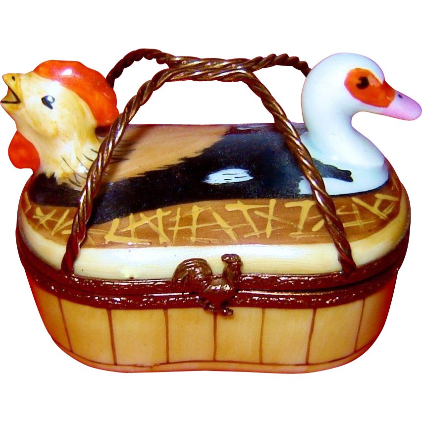 Limoges Basket Hen Rooster Duck Trinket Box