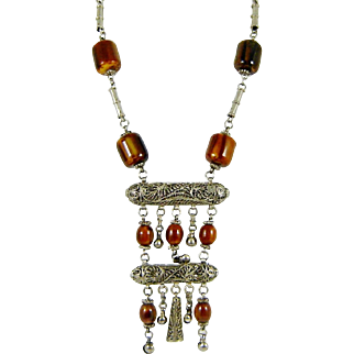Vintage Tribal Bakelite Necklace Amber Silver Bells Boho