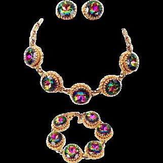 Vintage Schiaparelli Watermelon Necklace Bracelet Earrings Tourmaline Book Set