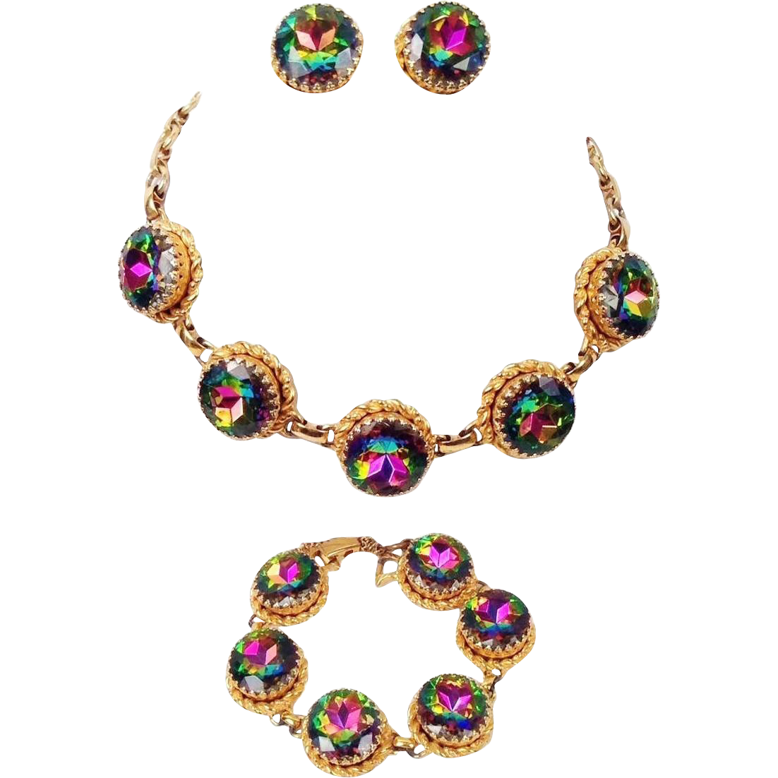 Vintage Schiaparelli Watermelon Necklace Bracelet Earrings Tourmaline Book Set