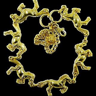 Vintage Horse Necklace Belt Gold Tone Jumpers