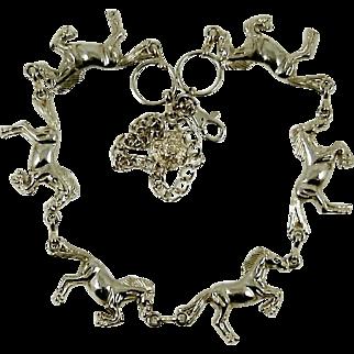 Vintage Silver Horse Necklace Equine Belt