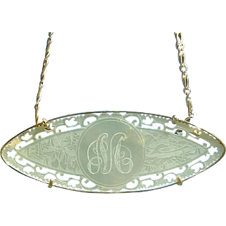 Antique 14K Chinese Mother of Pearl Gaming Chip Necklace