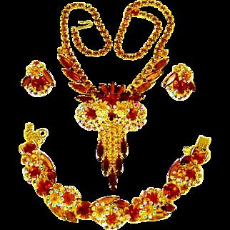 Vintage Juliana Owl Necklace Bracelet Earrings