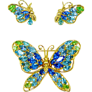 Vintage Napier Butterfly Brooch Earrings Rhinestones Gold Plate