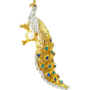 Vintage Schrager Peacock Brooch Rhinestones