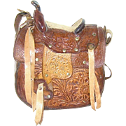 Vintage Tooled Leather Saddle Purse Shoulder Bag
