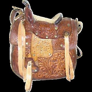 Vintage Tooled Leather Saddle Purse Shoulder Bag