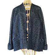 Vintage Designer Black Chenille Swing Coat Jacket Hess
