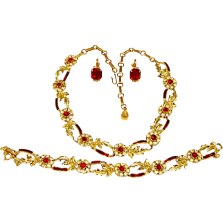 Vintage Coro Red Baguette Necklace Bracelet Earrings 1956 Rhinestone AD Set