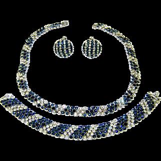 Vintage Trifari Necklace Bracelet Earrings Blue White Rhinestones 1965 Ad