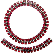 Vintage Trifari Sterling Necklace Bracelet Ruby Red Rhinestone Book Set Ad
