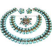 Trifari Sterling Necklace Bracelet Brooch Earrings Aquamarine Rhinestone Book AD Set