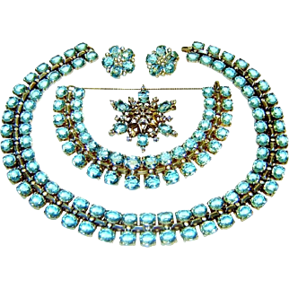 Trifari Sterling Necklace Bracelet Brooch Earrings Aquamarine Rhinestone Book AD Set