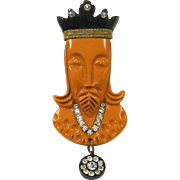 Vintage 1940s Bakelite King Fur Clip Butterscotch Black Chess Series