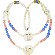Vintage Ceramic Faces Necklace Art Glass Beads
