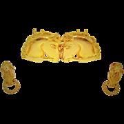 Vintage Mimi Di N Horse Buckle Earrings Gold Plated