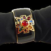 Vintage Kenneth Lane Maltese Cuff KJL Bracelet Rhinestones Enamel