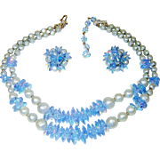 Vintage Necklace Earrings Blue Crystal Fx Pearl Set