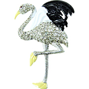 Vintage Art Deco Flamingo Fur Clip Enamel Rhinestones Book Piece