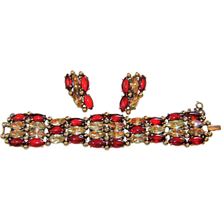 Vintage Schiaparelli Bracelet Earrings Red Topaz