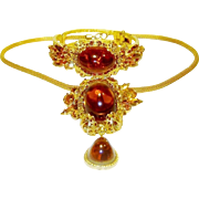 Vintage Juliana Clamper Bracelet Pin Pendant Necklace Topaz Huge Cabochons Rhinestones Book
