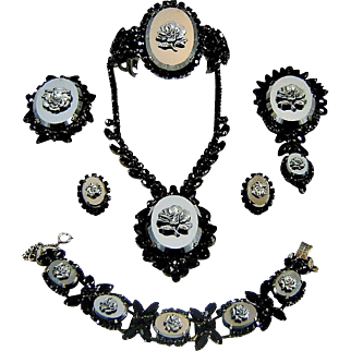 Last Chance Vintage Juliana Hematite Rose Necklace Clamper, Line Bracelet Brooch Pendant Earrings