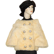 Vintage Champagne Mink  Jacket Rhinestone Buttons