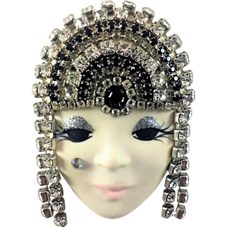 Vintage Ceramic Flapper Face Brooch Rhinestones MB