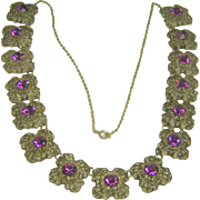Vintage Necklace Amethyst Rhinestones Filigree