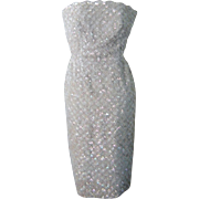 Vintage 1960s Ivory Seed Pearl Opalescent Sequin Silk Dress Straps or Strapless