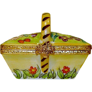 Limoges Flower Basket Box Hand Painted Artoria Signed Numbered