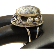 Vintage Ring Moss Agate Sterling Silver