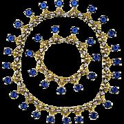 Vintage Mazer Necklace Bracelet Sapphire Diamante Rhinestones Retro Set
