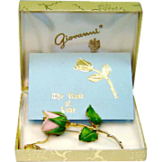 Vintage Giovanni Love Rose Brooch Box Tag Insert Mint