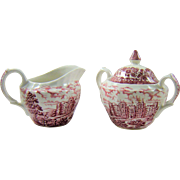 Anchor England Creamer Sugar Transferware Country Castles Pink Red