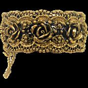 Vintage Tortolani Rose Clamper Bracelet Gold Plated