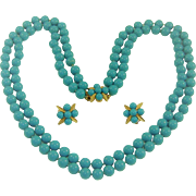 Vintage Panetta Turquoise Glass Bead Necklace Earring Set