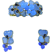 Vintage Julio Marner Mayorka Petals Beads Clamper Bracelet Earrings